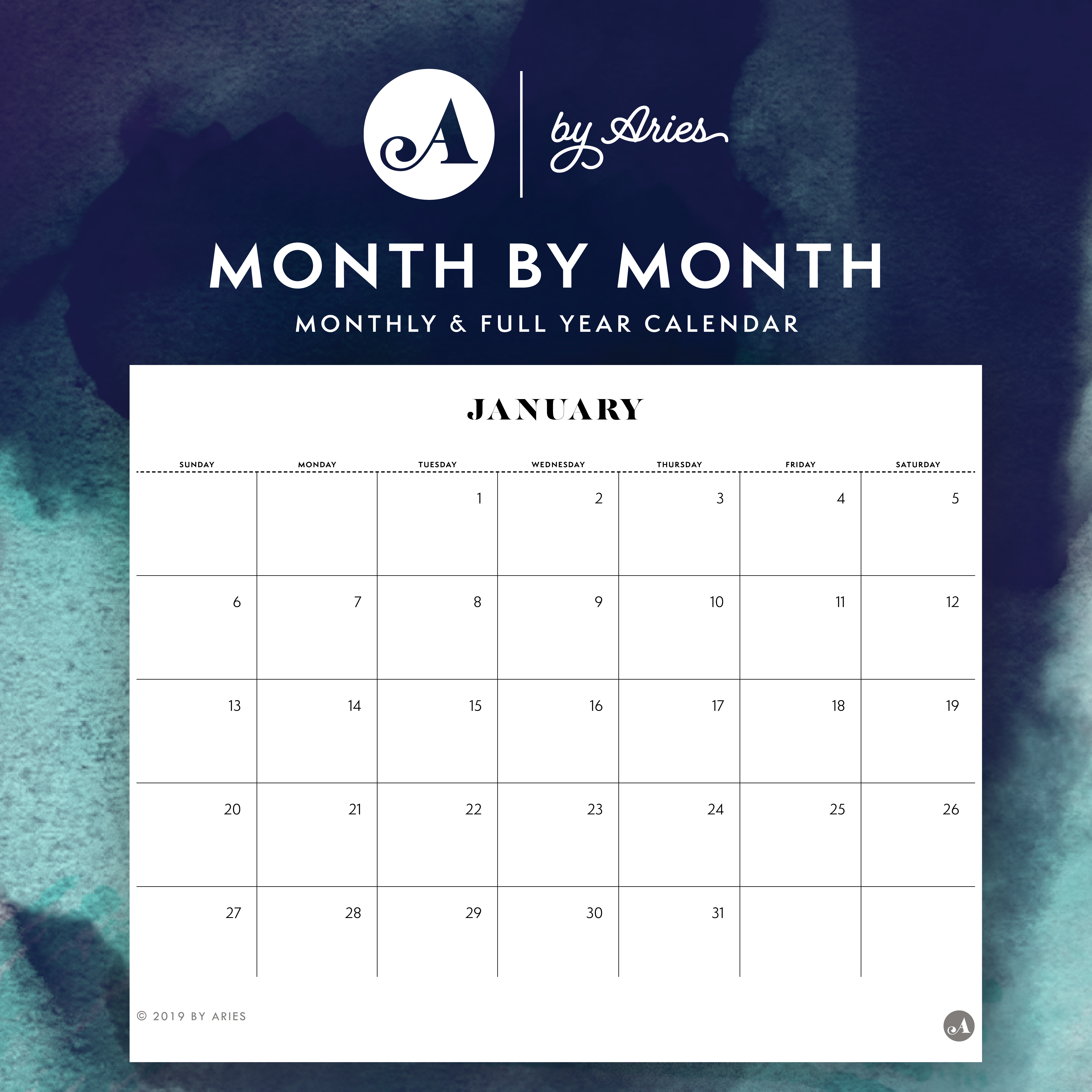 Yearly & Monthly Printable Calendars